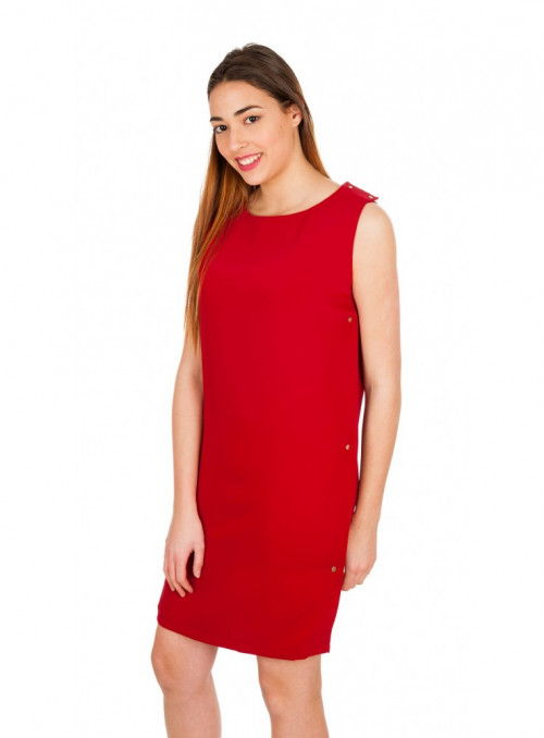 VESTIDO ROJO CORCHETES LATERALES By HOTEL PARTICULIER