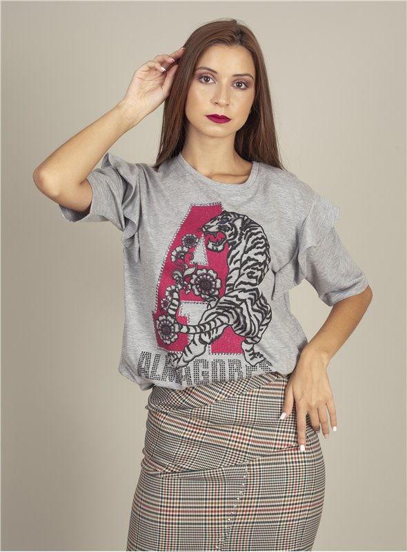 Almagores Camiseta Gris Tigre