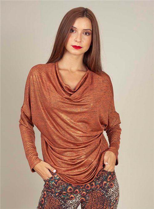 Malena Camiseta Metalizada naranja