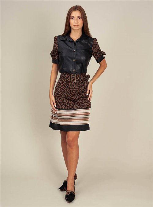 Cristina Effe Vestido combinado de tejidos falda leopardo