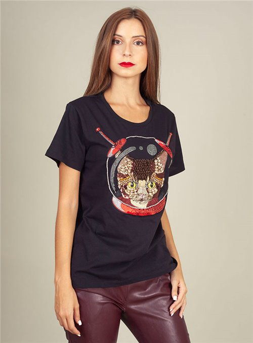 Pinko Camiseta Pedreria negra