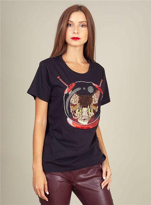 Pinko Camiseta pedrería negra