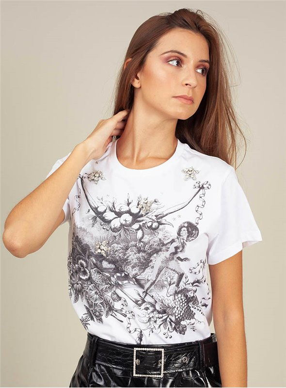 Pinko Camiseta Estampado Toile De Jouy