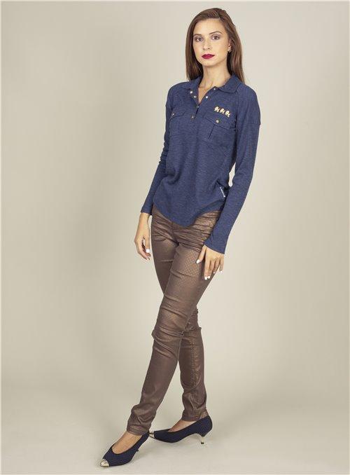 Nu Woman Pantalón metalizado bronze
