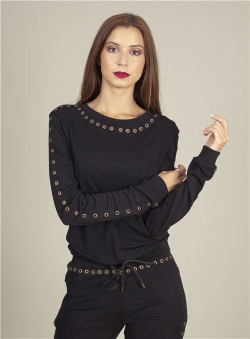 Nu Pepper Camiseta negra remaches cobre