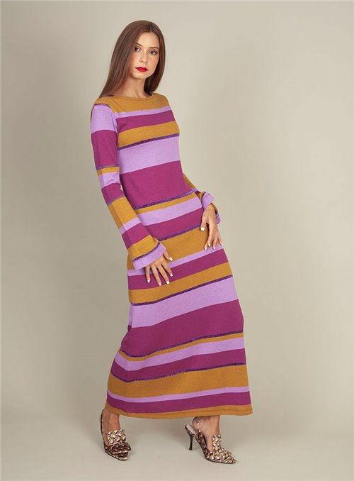 Malena Vestido Largo Rayas Multicolor