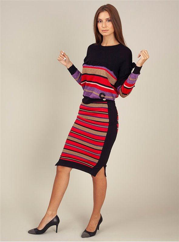 Cristina Effe Falda rayas multicolor