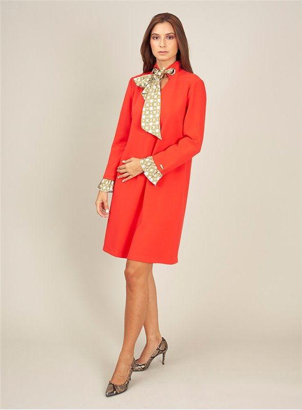 Cristina Effe Vestido Rojo Pañuelo Cuello