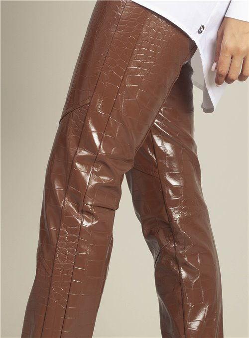 Pinko Pantalón Estampado Cocodrilo Marrón