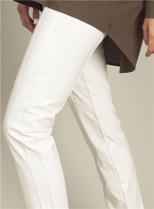 Pinko Pantalón estampado cocodrilo blanco