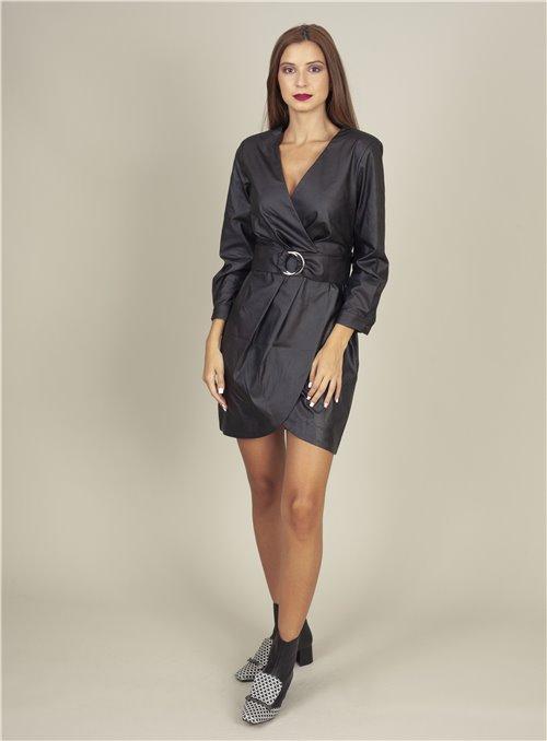 Acces Vestido negro ecopiel