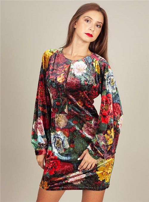 Cristina Beautiful life Vestido Estampado Flores Terciopelo
