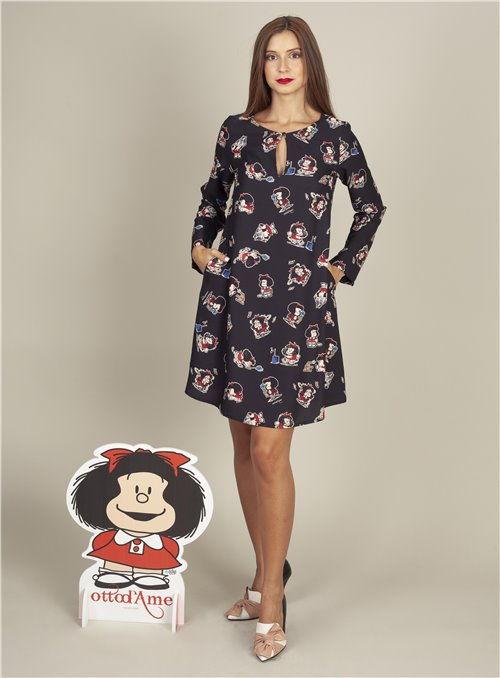 Otto d ame Vestido Negro Estampado Mafalda