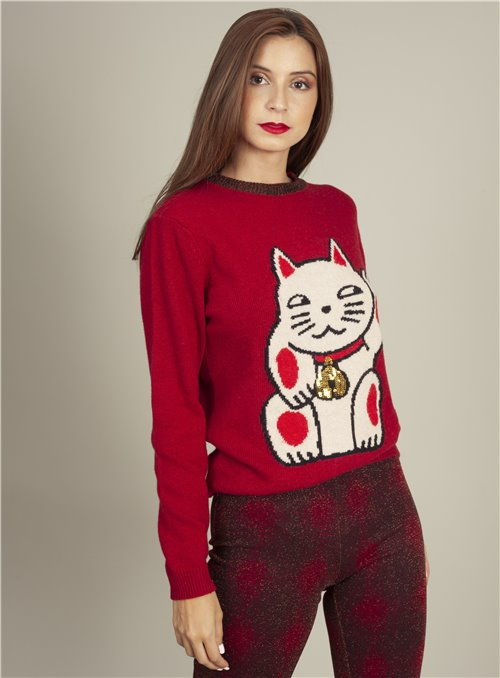 Otto d ame Jersey rojo Estampado Gato