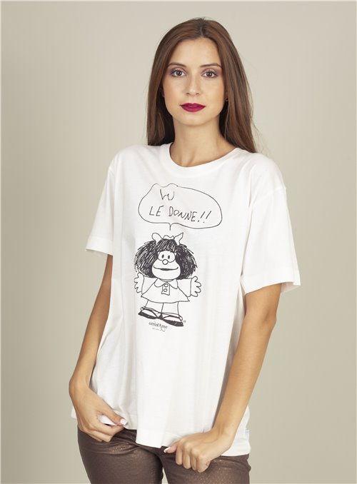 Otto d ame Camiseta Blanca Estampado Mafalda