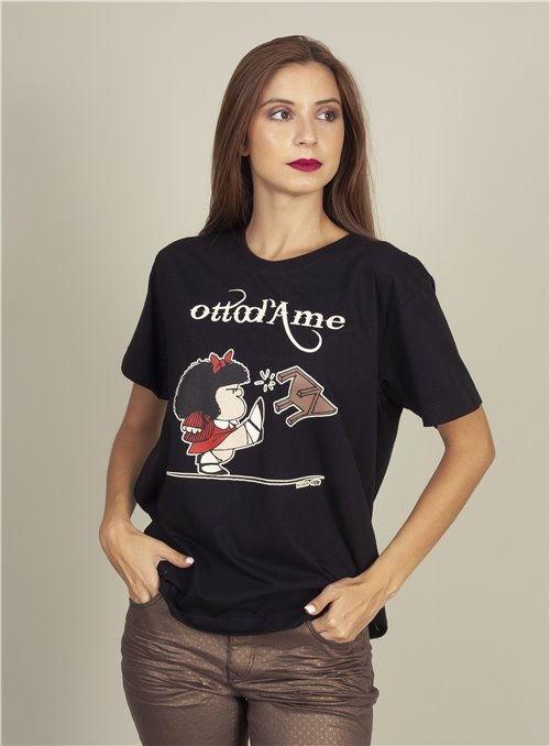 Otto d ame Camiseta Negra Mafalda