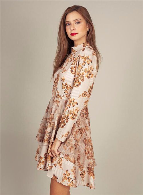 Cristina Beautiful life Vestido Estampado Flores mostaza