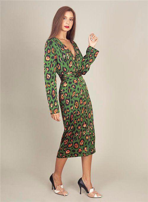 Cristina Beautiful life Vestido Estampado Animal Print Verde