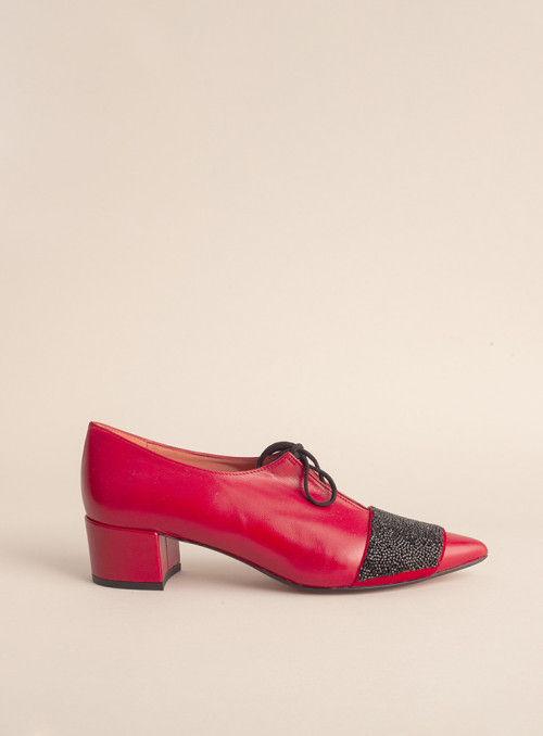 Sarah Verdel Zapato Abotinado Rojo Tira glitter