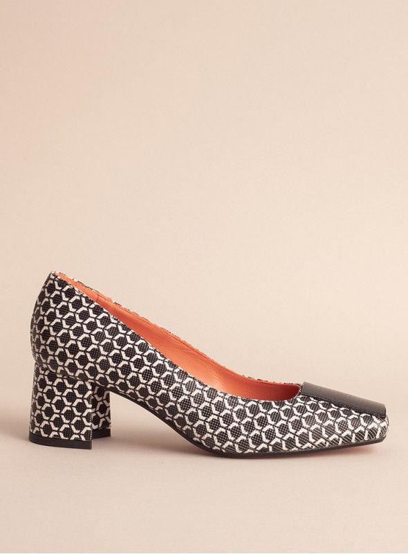 Sarah Verdel Zapato estampado blanco/negro