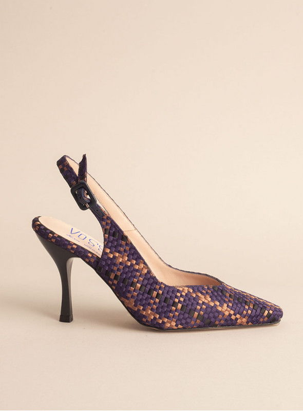 Zapato Destalonado Estampado trenzado