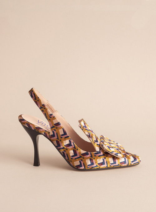 VOSSO Zapato estampado geométrico mostaza