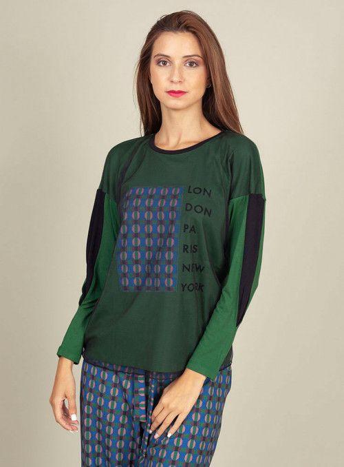 Pisonero Camiseta Estampada Verde Tull Negro