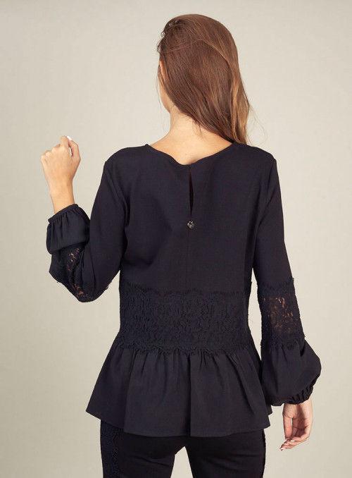 Twin Set Blusa negra cenefa encaje
