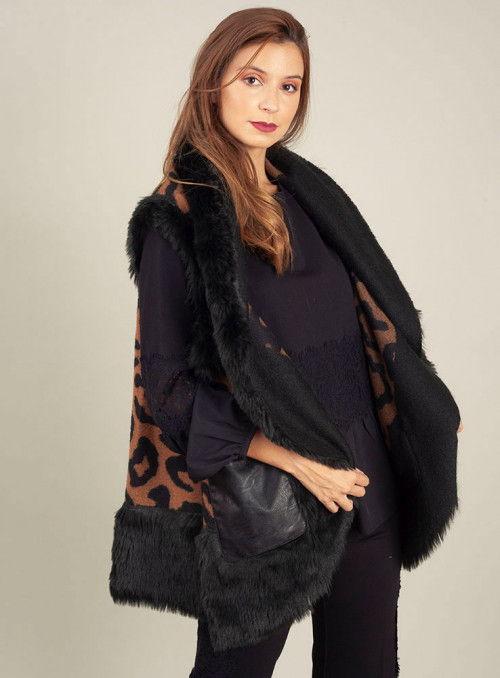 Cristina Effe Chaleco Estampado Leopardo