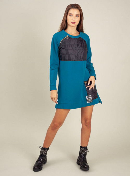 Rinascimento Vestido Azul Bolsillo