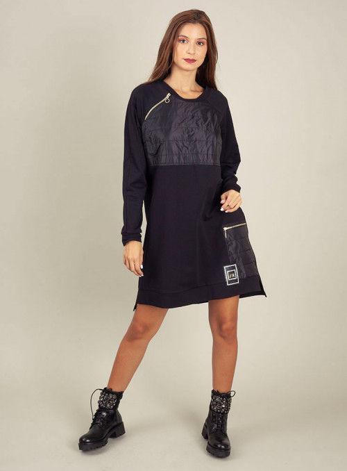 Rinascimento Vestido Negro Bolsillo