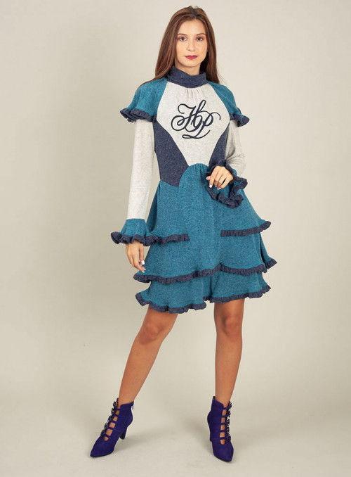 H. Preppy Vestido punto volantes azul