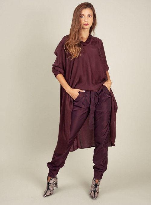 Nu Woman Pantalón Fluido Color Vino