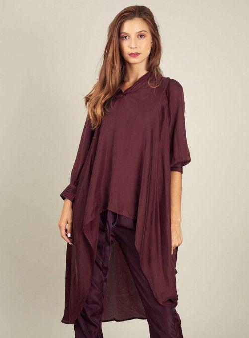 Nu Woman Blusa Asimétrica Color Vino