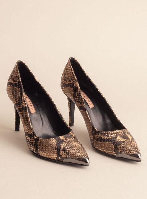 Albano Zapato Salón estampado pitón metálico