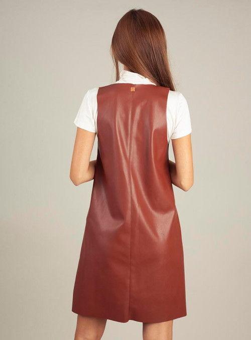 DELLE Vestido ecopiel combinado