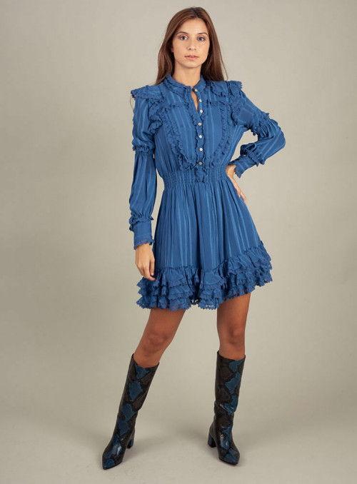 H. Preppy Vestido Puntillas Ondas Azul