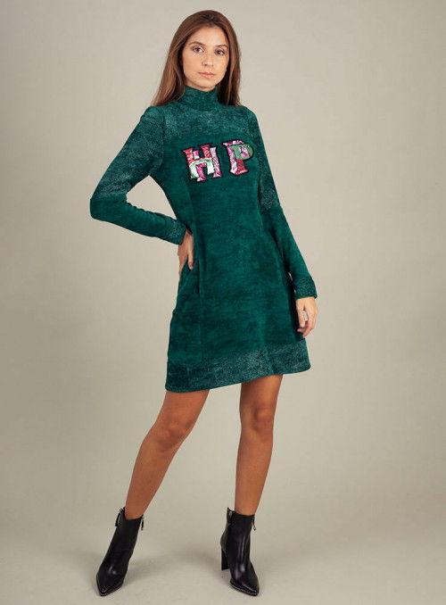 H. Preppy Vestido Chenilla Brillo verde