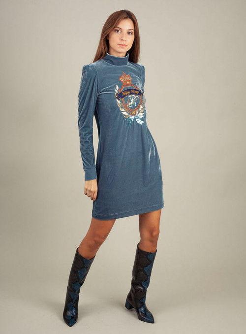 H. Preppy Vestido Velvet Princess Azul