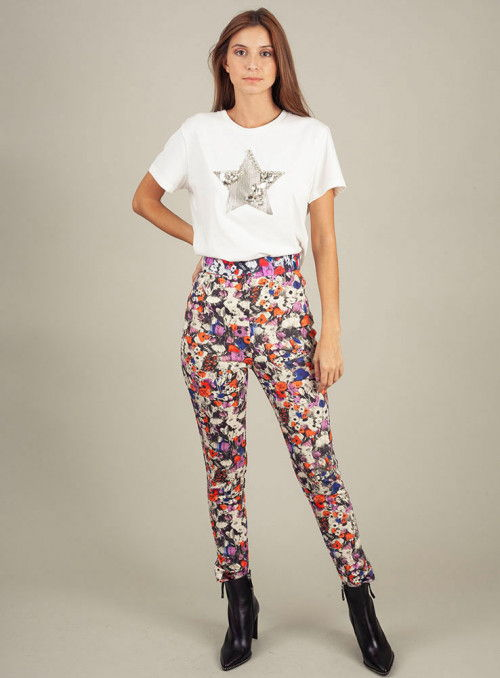 Pinko Pantalón neopreno estampado flores