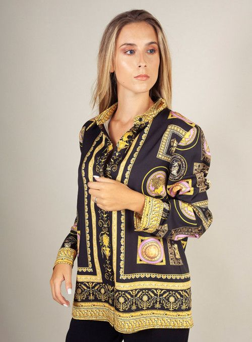 Twins Beach couture Camisa negra estampado mosaico