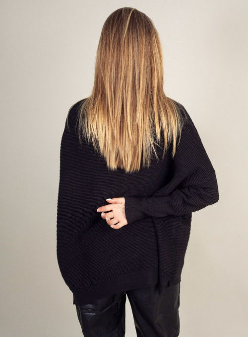 Paisie Jersey negro canalé oversize