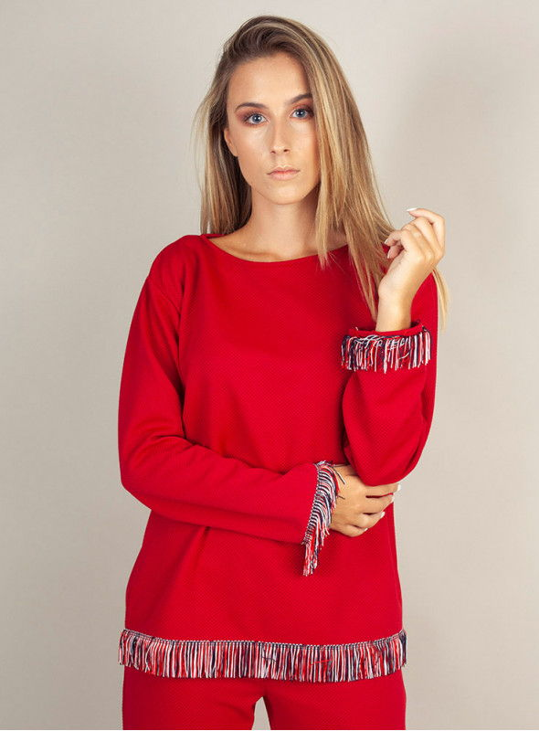 Malena Blusa roja bajo flecos
