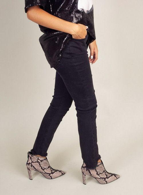 Pinko Pantalón desflecado negro