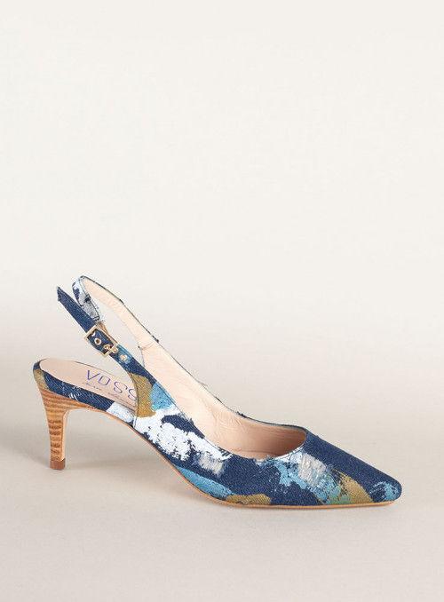 Zapato destalonado estampado tejano