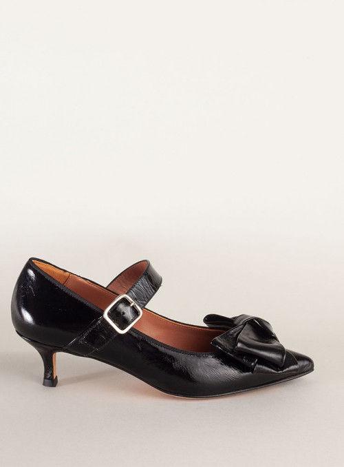 Ras Zapato charol negro lazo