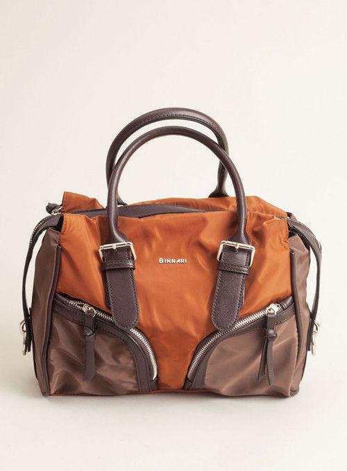 Binnari Bolso marrón bolsillos
