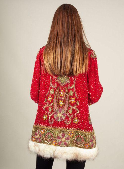 VOSSO Abrigo pelo rojo/blanco