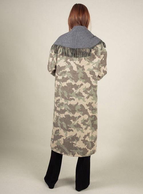 Twin Set Abrigo De Paño Estampado Camuflaje