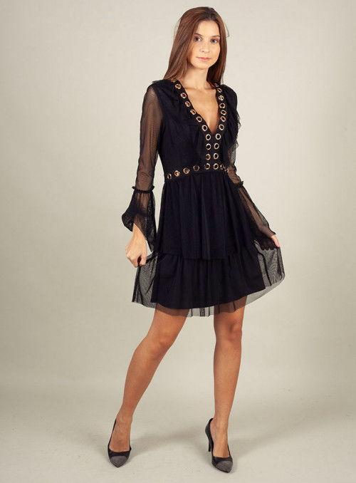 Twins Beach couture Vestido Negro Arandelas Doradas